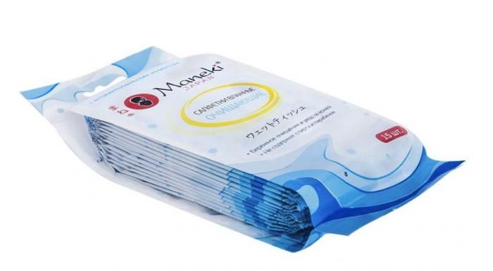 Mama Ultimate Влажные салфетки Kaiteki антибактериальные очищающие в индивидуальной упаковке 15 шт.Влажные салфетки Kaiteki антибактериальные очищающие в индивидуальной упаковке 15 шт.MANEKI Влажные салфетки Kaiteki антибактериальные очищающие в индивидуальной упаковке 15 шт.  Очищающие влажные салфетки с антибактериальным эффектом.   Салфетки из нетканого материала (вискозы), с экстрактом алоэ вера и сока огурца. В упаковке 15 салфеток, в индивидуальной упаковке, размер 180х180 мм.<br>