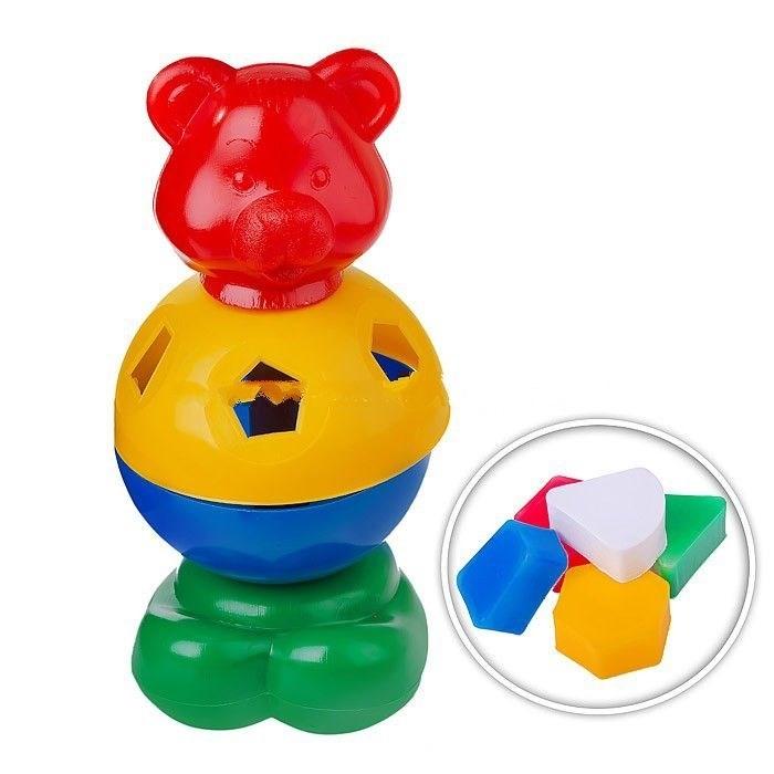 Развивающая игрушка СВСД Игрушка-логика Мишка косолапыйИгрушка-логика Мишка косолапыйСВСД Игрушка-логика Мишка косолапый.  Развивающая игрушка-сортер Мишка Косолапый. Корпус игрушки является сортером, внутри – 5 геометрических фигурок. Задача – вставить и протолкнуть фигурки в соответствующие прорези. Игрушка поможет ребенку развить мелкую моторику рук, визуальные навыки и воображение. Выполнена из пластика, соответствующего требованиям безопасности и нормативным документам.<br>