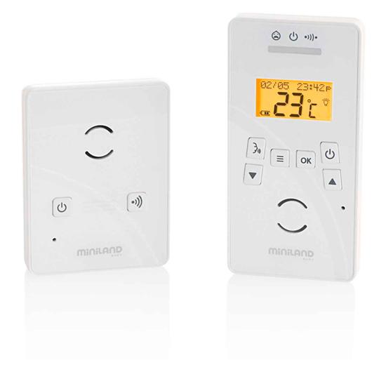 Miniland Радионяня Digitalk PremiumРадионяня Digitalk PremiumРадионяня Miniland Digitalk Premium - многофункциональная с дисплеем.   Особенности: Технология ECOTECH: 2 уровня энергопотребления, технология позволяет снизить потребление электроэнергии Функция вибросигнала, данная функция полезна для шумных помещений и для слабослышащих людей Индикатор уровня звука Наблюдение за температурой в комнате ребенка, с функцией предупреждения Оповещение о времени кормления Радиус действия: 300 метров на открытом пространстве Дистанционное управление детским блоком Цифровая технология передачи видео, звук без помех Двусторонняя связь, можно видеть, слышать и говорить с ребенком Звуковая активация с регулируемой чувствительностью Ночник Детский блок может работать от 4-х обычных батареек 5 колыбельных мелодий Меню на 16 языках, включая русский Аккумуляторная батарея Оповещение о выходе за радиус действия<br>
