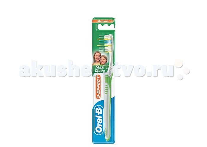 Oral-B 3-Effect Maxi Clean 40 Зубная щетка средняя3-Effect Maxi Clean 40 Зубная щетка средняяOral-B 3-Effect Maxi Clean 40 Зубная щетка средняя.  Благодаря уникальным тройным плоским пучкам щетины, специально разработанным для того, чтобы глубоко проникать между зубами и удалять налет, щетка Maxi Clean обеспечивает исключительное качество чистки. Более длинные щетинки на кончике щетки обеспечивает охват задних зубов Голубые щетинки Indicator, обесцвечиваясь наполовину, сигнализируют об износе щетины и напоминают о необходимости замены зубной щетки Эргономичная ручка обеспечивает комфорт и маневренность при чистке зубов.<br>