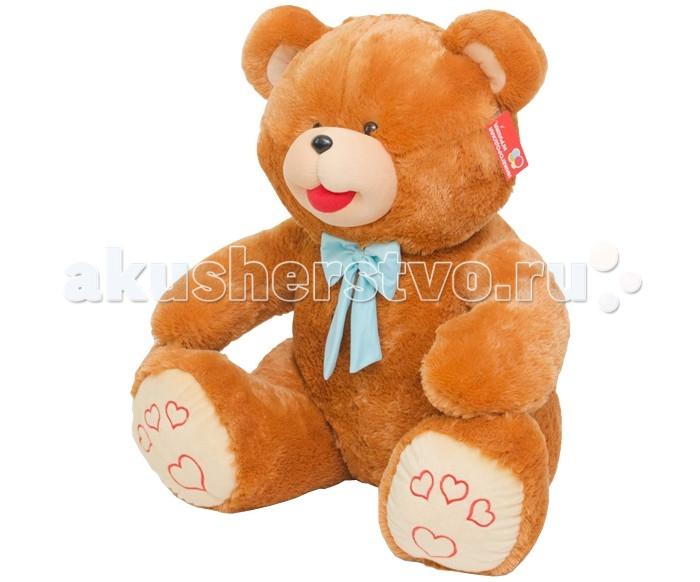Мягкая игрушка Нижегородская игрушка Медведь с бантом (большой) 52 смМедведь с бантом (большой) 52 смМедведь с бантом (большой) с повязанным на шее бантиком непременно станет настоящим любимцем и другом малышу.   У медвежонка милая мордочка и толстое мягкое тельце. Он изготовлен из высококачественного, гипоаллергенного искусственного меха и синтетического наполнителя, безопасных для здоровья ребенка.   Мягкого и пушистого медвежонка приятно держать в руках, гладить и разговаривать, доверяя ему свои секретики. Подвижные лапки позволят использовать медведя в различных играх. Игра с ним способствует формированию у ребенка новых навыков, развивает тактильные ощущения и фантазию.<br>