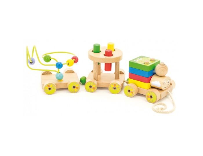 Деревянная игрушка МДИ Паровозик Чух-чух №2Паровозик Чух-чух №2Паровозик Чух-чух №2 МДИ  Игровой набор Паровозик Чух-Чух  - это каталка, проволочный лабиринт,пирамидка,стучалка и сортер в одном. Особенности:- игрушка состоит из паровозика и двух платформ, которые соединяются между собой с помощью бусин и петелек-сам паровоз собирается, как пирамидка- квадратные элементы паровоза украшены изображениями разных животных.    Второй вагон – это стучалка, которая  развивает координацию движений, ловкость и  внимание. Последняя платформа украшена проволочным лабиринтом, по которому можно перемещать нанизанные разноцветные бусинки.   Игрушка развивает моторику, сенсорику, логику, учит  изучению цветов и форм.<br>