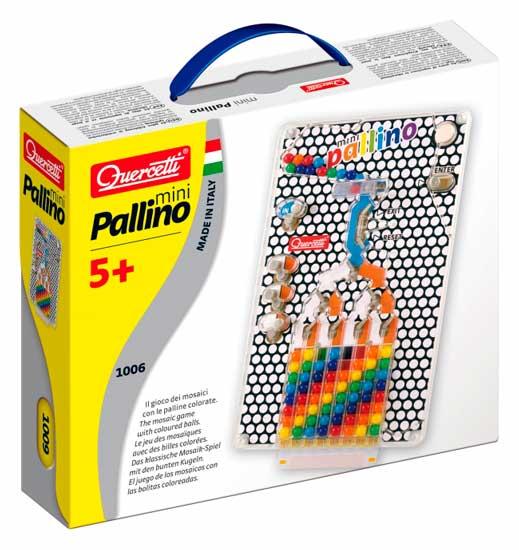 Quercetti Настольная игра Паллино миниНастольная игра Паллино миниQuercetti Настольная игра Паллино мини - развивает зрительную моторику и координацию, логику, ловкость, реакцию и самоконтроль.  Особенности:  6 карточек с заданиями  Игра с цветными шариками  Цель игры провести цветной шарик по лабиринту и поместить шарик определенного цвета в соответствующее по цвету поле Сменные карточки сделают игру разнообразной и увлекательной<br>