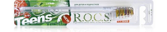 R.O.C.S. Teens 8-18 Модельная Зубная щетка  мягкаяTeens 8-18 Модельная Зубная щетка  мягкаяR.O.C.S. Teens 8-18 Модельная Зубная щетка  мягкая.  Привлекательный яркий дизайн. Мягкая щетина. Все это подростковая щетка ROCS Teens Разноуровневая, нестандартной формы щетина облегчает доступ и повышает качество чистки дальних зубов и очищает всю поверхность зуба Анатомически правильная форма головки зубной щетки ROCS - скошенная к концу головки щётки улучшает качество чистки зубов Благодаря форме головки эффективно очищает все поверхности зуба и позволяет легко очищать пространство между зубами, при этом, не травмируя десны Удобная плоская рукоятка обеспечивает маневренность зубной щетки ROCS  Укороченные щетинки на конце головки улучшают качество чистки дальних зубов. Ворсинки щетины производит фирмы Pedex Германия – мировой лидер в производстве высококачественных материалов Кончики щетинок закруглены и отполированы, для защиты десен и зубов от механических повреждений Стильный дизайн щетки и ее высокая функциональность создаст хорошее настроение на весь день.<br>