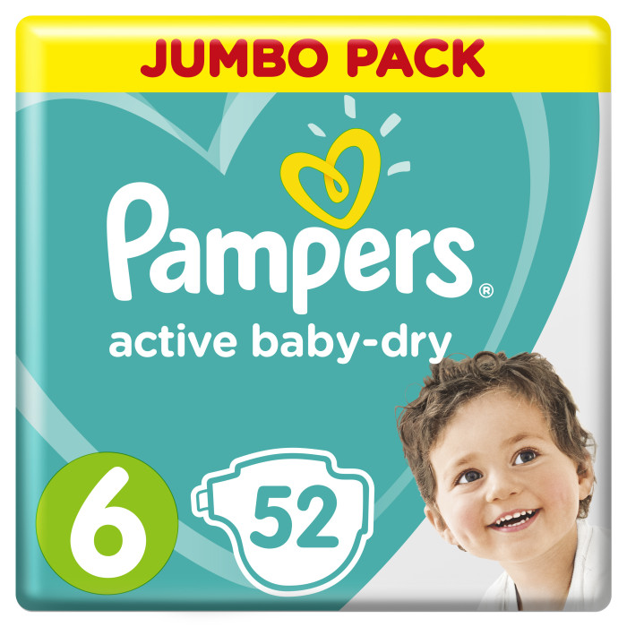 Pampers Подгузники Active Baby Dry Extra Large р.6 (15+ кг) 54 шт.Подгузники Active Baby Dry Extra Large р.6 (15+ кг) 54 шт.До 2х раз суше, чем обычный подгузник!* *по сравнению с подгузником из более экономичного ценового сегмента  Детские одноразовые подгузники Pampers Active Baby сделаны для оптимального впитывания влаги из 3-х уникальных слоёв, помогающих максимально защитить кожу вашего ребёнка ,даже в самых резких и динамичных движениях.При этом мягкая поверхность способствует дыханию кожи. Также Pampers оснащены широкими застёжками,благодаря которым ваш малыш будет чувствовать себя максимально комфортно.Данный подгузник способен растягиваться и сжиматься на 8 см  Подгузники Pampers Active Baby созданы специально для того, чтобы обеспечить непревзойденный комфорт даже для самых подвижных животиков.  Все подгузники имеют двойной супервпитывающий слой Extra Dry: - первый слой быстро впитывает и распределяет жидкость внутри подгузника, - второй превращает ее в гель и надежно удерживает внутри подгузника.  Внешний слой пропускает воздух к коже ребенка, позволяя ей дышать.  Двойные манжеты надежно защищают от протекания, а бальзам с алоэ обеспечивает дополнительную защиту кожи от раздражений.  Анатомическая форма подгузников обеспечивает максимальный комфорт, повторяя форму тела малыша и защищая от кома между ножками.  Тянущиеся боковинки растягиваются до 8 см, обеспечивая отличное прилегание и комфорт и не мешая расти животику. Вес ребенка: 15+ кг Кол-во в упаковке: 54 шт<br>