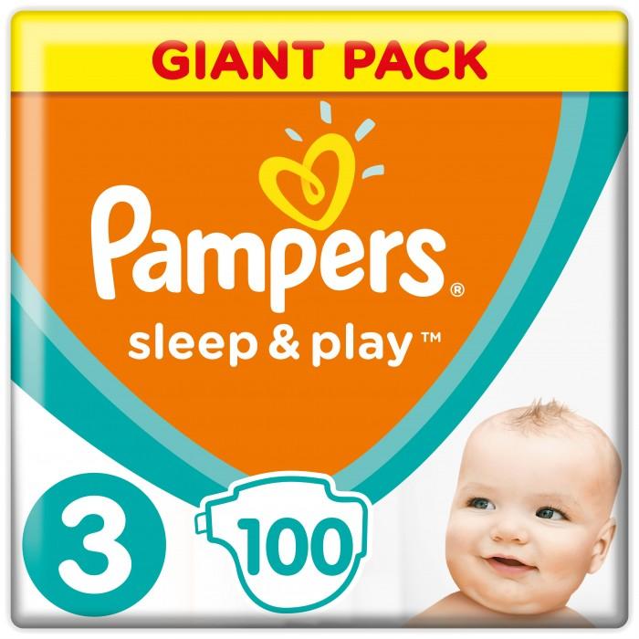 Pampers Подгузники Sleep &amp; Play Midi р.3 (4-9 кг) 100 шт.Подгузники Sleep &amp; Play Midi р.3 (4-9 кг) 100 шт.Просто сухие. Просто доступные.  Теперь вы можете гулять в парке дольше! Усовершенствованные подгузники Pampers Sleep & Play теперь еще лучше впитывают и при этом меньше увеличиваются в объеме. Быстро впитывающий слой обеспечивает надежную сухость вашему малышу по доступной цене. Это отличный и экономичный способ сохранить кожу ребенка сухой и продлить радостные моменты. У новых подгузников появился интересный дизайн.  Специальный внутренний слой подгузника быстро впитывает влагу, оставляя кожу малыша сухой. Тянущиеся боковинки. Специальные манжеты помогают предотвратить протекание. Регулируемые застежки-липучки. Интересный дизайн.   Вес ребенка: 4-9 кг Кол-во в упаковке: 100 шт<br>