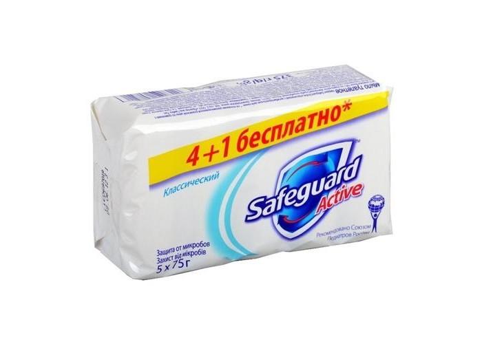 Safeguard Мыло туалетное Классическое Ослепительно Белое 5х75 гМыло туалетное Классическое Ослепительно Белое 5х75 гSafeguard Мыло туалетное Классическое Ослепительно Белое 5х75 г 5013965608520  С антибактериальным туалетным мылом Safeguard вся семья получит надежную защиту от бактерий. Мыло увлажняет и очищает кожу рук, при этом убивая бактерии и болезнетворные микроорганизмы. Этот эффект сохраняется надолго. Мыло подходит и для детей, оно одобрено и протестировано Союзом педиатров России. В одном экономичном наборе находятся 5 кусков мыла по 75 грамм.<br>