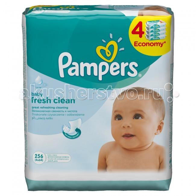Pampers Салфетки Baby Fresh Quatro запасной блок 4х64 шт.