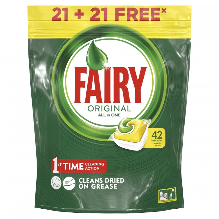 Fairy P&amp;G Средство для мытья посуды в капсулах All In One Лимон 44 шт.Средство для мытья посуды в капсулах All In One Лимон 44 шт.Средство для мытья посуды в капсулах Fairy All In One с запахом лимона предназначено для использования в посудомоечных машинах. Одной капсулы достаточно для мытья большого количество посуды. Использование средства позволит тщательно удалить остатки жира и других следов пищевых продуктов с поверхности посуды. Капсулы обладают повышенной эффективностью, что позволяет использовать их при невысокой температуре. В составе средства присутствует специальный компонент, предотвращающий образование накипи, а это заметно продлевает срок службы машины.  Основные характеристики:  Количество в упаковке: 44 шт.<br>