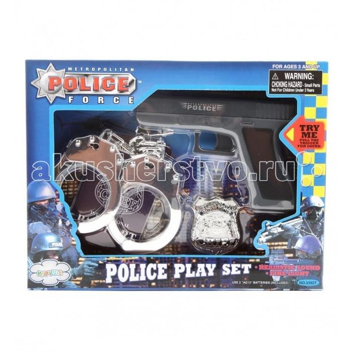 Игруша Набор игровой Полиция на батарейках i-3392tНабор игровой Полиция на батарейках i-3392tИгруша Набор игровой Полиция на батарейках позволит ребенку ощутить себя настоящим стражем порядка. В комплект входит все, что должно быть у любого уважающего себя героя. С таким набором игра в полицию станет по настоящему реалистичной и увлекательной. У настоящего полицейского обязательно есть оружие — пистолет, а также дополнительные аксессуары — наручники и значок отличия. Комплект выполнен из качественного пластика.  В наборе: наручники жетон пистолет<br>