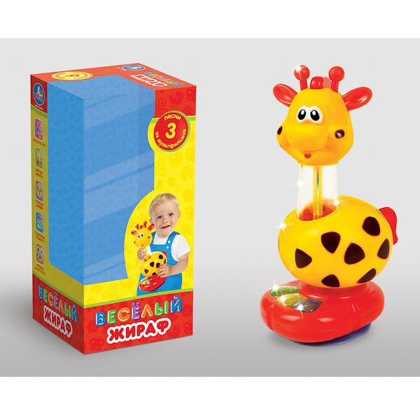 Умка Веселый ЖирафВеселый ЖирафРазвивающая игрушка Умка Веселый Жираф работает от батареек, со световыми эффектами и 3 песнями из мультфильма, на присоске.<br>