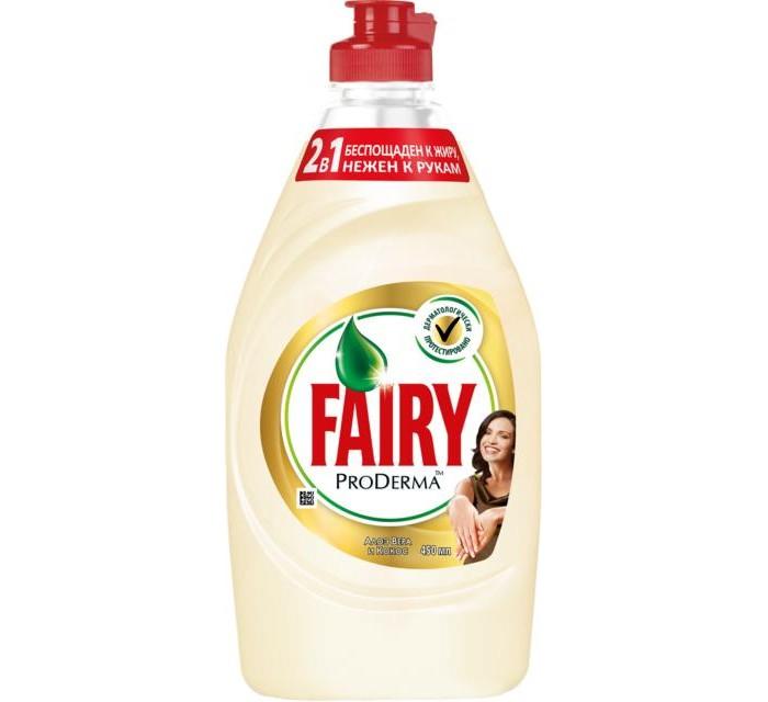 Fairy P&amp;G ProDerma Средство для мытья посуды Алоэ Вера и Кокос 450 млProDerma Средство для мытья посуды Алоэ Вера и Кокос 450 млБлагодаря улучшенной формуле Fairy отмывает даже запекшийся жир всего за 10 минут без длительного замачивания. Средство быстро проникает в пригоревший жир и отмывает посуду так легко, как будто посуда была замочена на ночь. Даже трудные остатки пригоревшего жира не требуют длительного замачивания.   Основные характеристики:  Объем: 450 мл<br>