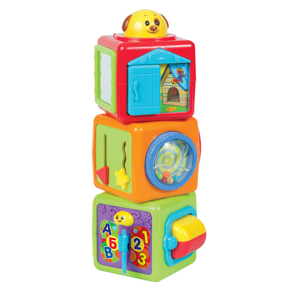 Развивающая игрушка Умка Обучающие кубикиОбучающие кубикиРазвивающая игрушка Умка Обучающие кубики - яркая интересная обучающая игрушка порадует вашего малыша.  Особенности: Кубики собираются в пирамидку, при игре игрушка издаёт забавные звуки. На кубиках есть подвижные элементы, касаясь которых малыш разовьёт мелкую моторику и услышит забавные звуки Нажимая на животных, ребёнок услышит весёлые песенки и познакомится с животными Игрушка способствует развитию логического мышления, познавательной активности, визуального и слухового восприятия, моторики<br>