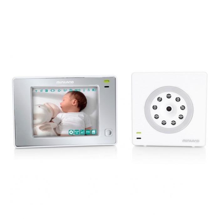 """Miniland Видеоняня Digimonitor plus 3.5"""" Touch newВидеоняня Digimonitor plus 3.5"""" Touch newЦифровая видеоняня Digimonitor 3.5"""" touch с сенсорным экраном 3.5""""  Особенности: Функция вибросигнала (для шумных помещений и для слабослышащих людей) Функция записи видео и фото Технология ECOTECH: технология позволяет снизить потребление электроэнергии  3- кратный зум для того, чтобы рассмотреть даже самые мелкие детали Одновременное отображение изображения с 4 камер Датчик температуры с функцией оповещения Позволяет наблюдать за ребенком из любой точки мира через смартфон, планшет или компьютер и сайт Радиус действия: 250 метров Цифровая технология передачи видео, звук без помех Двусторонняя связь, можно видеть, слышать и говорить с ребенком Активация звуком с настраиваемой чувствительностью Камера с ночным видением и подсветкой Есть возможность подключения 4 камер  5 колыбельных мелодий, индикатор громкости и ночник управляются с родительского блока  Соединение с компьютером и телевизором  Выдвижная антенна 8 языков, включая русский Аккумуляторные батарейки<br>"""