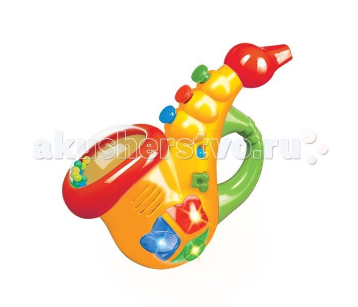 Музыкальная игрушка Умка СаксофонСаксофонМузыкальная игрушка Умка Саксофон со светом и песенкой из мультфильма, световые эффекты, гремящие шарики, развиваем цветовосприятие, развиваем слух и чувство ритма, развиваем артистизм и воображение, батарейки входят в комплект.  Размеры игрушки: 23 х 15 х 9 см<br>
