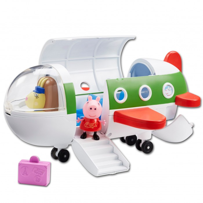 Peppa Pig Игровой набор Самолет с фигуркой ПеппыИгровой набор Самолет с фигуркой ПеппыСвинка Пеппа отправляется в отпуск на самолете. Положив 2 чемодана в багажное отделение, она поднимается по спущенному трапу и комфортно размещается в трехместном салоне, каждое кресло которого создано для Пеппы и ее друзей. Двери закрываются, и самолет отправляется с новый игровой рейс по волнам фантазии вашего малыша, во время которого кроха будет развивать воображение, координацию движений, речевые навыки и многое другое.  В наборе Самолёт с фигуркой Пеппы 4 предмета: самолет на колесиках с тремя сидениями, фигурка Пеппы с подвижными ручками и ножками; 2 чемоданчика. У самолёта с иллюминаторами и спускающимся трапом открываются крыша, багажное отделение и кабина пилота.  При помощи поворотного механизма пилота в кабине можно поменять на вашего любимого героя. Игрушки выполнены из качественного пластика.<br>