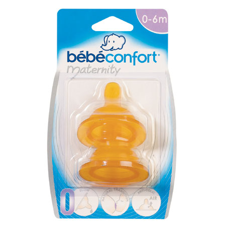 Соска Bebe Confort из латекса для бутылочек с широким горлышком 2 шт. 6-24 мес.