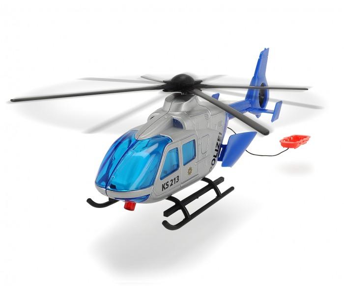 Dickie Полицейский вертолет 24 смПолицейский вертолет 24 смDickie Полицейская лодка 23 см - это хорошо проработанная модель.  Особенности: Игрушка очень похожа на настоящую технику.  С таким вертолетом можно придумывать различные сюжетно-ролевые игры, устраивать погони и осады.  Если потянуть за специальный шнур, установленный в задней части вертолета лопасти начнут крутиться.  Задняя дверь вертолета легко открывается, позволяя посадить внутрь пассажиров.<br>