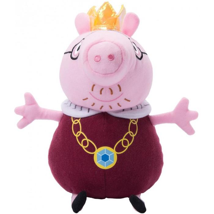 Мягкая игрушка Peppa Pig Папа Свин король 30 смПапа Свин король 30 смPeppa Pig Мягкая игрушка Папа Свин король 30 см.  Обаятельная мягкая игрушка Папа Свин-король - это отличный подарок для вашего малыша. С ней можно весело играть днем и сладко спать ночью. А чтобы ваш маленький фантазер по-настоящему оживил приключения своих любимых героев, вы можете приобрести других персонажей из серии Peppa Pig.  Мягкая игрушка Папа Свин-король ТМ Свинка Пеппа высотой 30 см, размер указан с ножками, качественно сшита из мягкого, приятного на ощупь плюша, плотно набита. Глазки, носик и ротик вышиты. Корона выполнена из фетра и блестящего материала. Товар сертифицирован. Упаковка - пакет.<br>