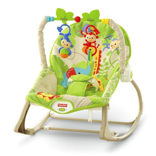 Fisher Price Кресло-качалка Веселые обезьянкиКресло-качалка Веселые обезьянкиВеселые обезьянки из тропического леса Fisher-Price - это комфортное кресло-качалка с вибрацией для малышей весом до 18 кг.   Модель оснащена съемной дугой, к которой прикреплены 2 игрушки-погремушки.   Благодаря откидывающейся подножке и отклоняющейся спинке сидения кресло отлично подходит для кормления и дневного сна.   Модель оснащена нескользящими ножками, упрочненной рамой и защитными ремням, которые обеспечат малышу полною безопасность.  Прекрасная люлька-качалка станет хорошим подарком для вашего малыша. Подари малышу познавательный мир, полный ярких красок.  Само кресло очень мягкое и с дивным рисунком. Текстильные части кресла можно стирать в машинке.  Удобство Вашим детишкам будет обеспечено в любом возрасте!  Питание: 1 D щелочная батарея (LR20) - не входит в комплект.<br>