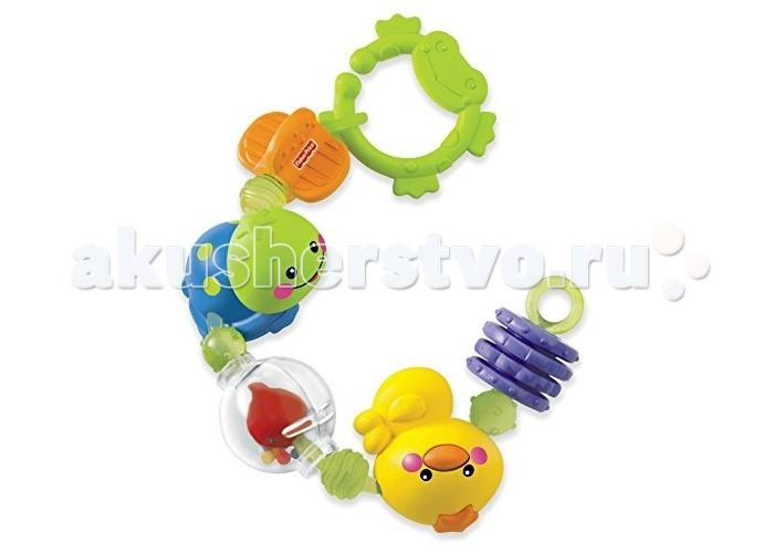 Fisher Price Развивающая игрушка Крутящиеся животныеРазвивающая игрушка Крутящиеся животныеРазвивающая игрушка из серии «Занимательные колечки».   Данное изделие представляет собой непрерывно соединенные подвижные бусины для игр во время прогулок малыша.   В погремушке используется пластмасса с гладкой и шероховатой поверхностью для развития тактильных ощущений у малышей.  Две крутящиеся бусины подходят для прорезывающихся зубов, одна вращающаяся литая черепашка с зеркальцем для игры с ребенком в игру «ку-ку», вращающаяся в шаре рыбка с погремушкой из бусин и вращающаяся литая утка.   Бусины можно соединять в круг или подвесить в линию.   Большое звено (в форме лягушки) наверху присоединяется к развивающим центрам, игровым коврикам, коляскам и др.<br>