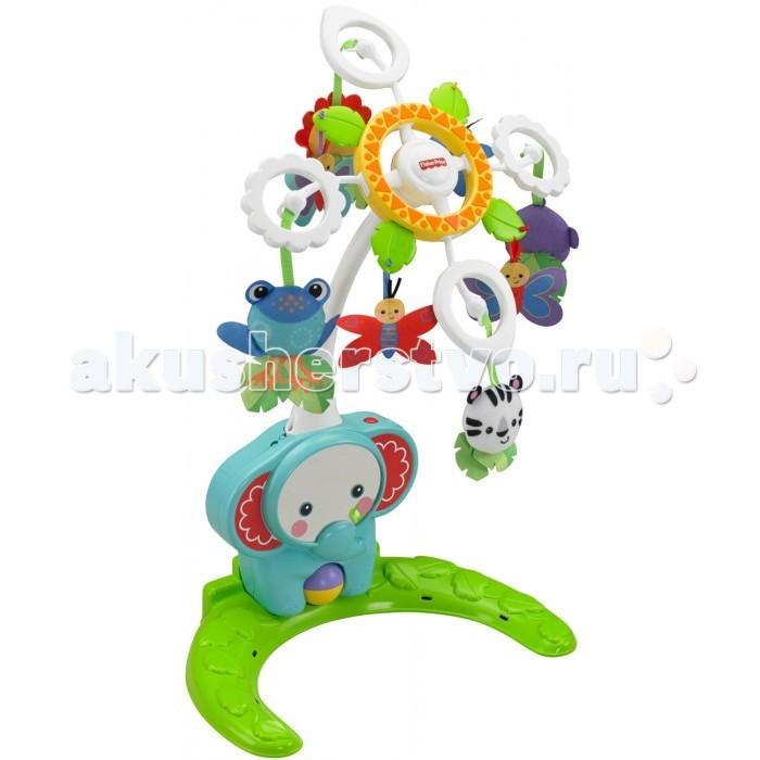 Мобиль Fisher Price Друзья из тропического лесаДрузья из тропического лесаУспокаивать малыша станет легко и весело благодаря мобилю 4-в-1, который растет вместе с малышом!   В режиме мобиля - до 20 минут музыки, а над головой малыша плавно раскручиваются восемь цветных мягких игрушек!   Затем мобиль легко можно переместить из детской кроватки на пол - чтобы малыш мог играть в любой комнате!   Вращающийся валик, по которому можно хлопать, и блестящее зеркало увлекают и развлекают малыша.   По мере взросления малыша используйте изделие в качестве успокаивающей игрушки без мобиля.  Растет вместе с малышом Успокаивающий мобиль, мобиль для игр, успокаивающая игрушка для игр на животике и в детской кроватке Восемь мягких животных, две бабочки и два светлячка плавно раскручиваются над малышом До 20 минут музыки Выберете любой из двух музыкальных режимов: Успокаивающие колыбельные или веселая музыка с/без движения Детское зеркало и валик, по которому можно хлопать Успокаивает малыша и устанавливает режим ночного сна Поощряет игры на животике Регулирование питания/громкости для тихой игры Легко крепится к детской кроватке Требуются 3 батарейки типа C<br>