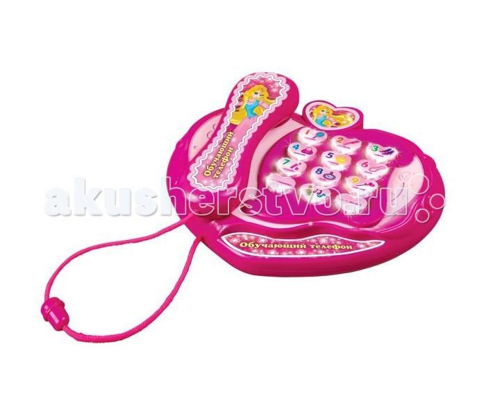 Умка Обучающий телефон B664006-RОбучающий телефон B664006-RМузыкальная игрушка Умка Обучающий телефон B664006-R для маленьких принцесс научит их цифрам от 0 до 9, песням из мультфильмов, названиям аксессуаров и нотам. У телефончика светящиеся кнопки и он озвучен профессиональным актером.  Размер игрушки: 16х19х7 см<br>