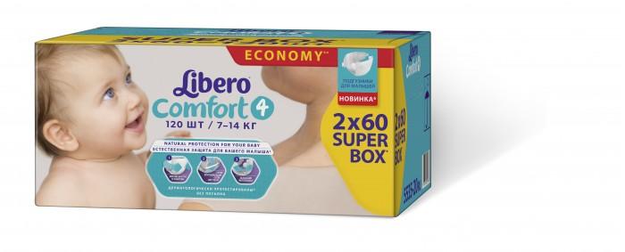Libero Подгузники Comfort супер-бокс Maxi (7-14 кг) 2х60 шт.Подгузники Comfort супер-бокс Maxi (7-14 кг) 2х60 шт.Вес ребенка: 7-14 кг Количество в упаковке: 120 шт.  Подгузники Libero Comfort  Самые мягкие подгузники Libero сделают жизнь малыша и его родителей легче и комфортнее. Мягкая поверхность этих подгузников идеально подходит для нежной и чувствительной кожи малышей.    • Мягкие и тонкие • Хорошо впитывают • Не содержат лосьонов • Тянущиеся боковинки и эластичный поясок для более комфортного прилегания • Мягкие резиночки анатомической формы вокруг ножек • Позволяют коже дышать  В каждой упаковке Libero Comfort вы найдете 2 разных дизайна подгузников! Libero Baby Soft 4 (Макси).<br>