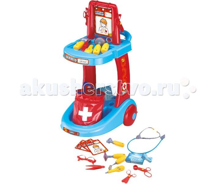 Xiong Cheng Игровой набор ДокторИгровой набор ДокторXiong Cheng Игровой набор Доктор позволит малышу почувствовать себя настоящим врачом.   Особенности: Комплект включает в себя много ярких инструментов, которые необходимы чтобы лечить кукол или других участников игры.  Набор способствует развитию образного мышления, воображения, речевых навыков, мелкой моторики рук, координации. Материал — высокопрочный нетоксичный пластик Устойчивая конструкция Колеса для удобного перемещения Разъемные карточки: график температур, табличка для проверки зрения, сведения о пациенте Термометр с колесиком — можно настраивать показания Можно играть как дома, так и на улице  В наборе: 3-колесная тележка Наклейки Сумка для медицинских инструментов Стетоскоп Молоточек невропатолога Термометр Пинцет Инструмент лора Хирургические и обычные ножницы Зеркальце Очки 3 карточки 2 коробочки Инструкция по сборке<br>