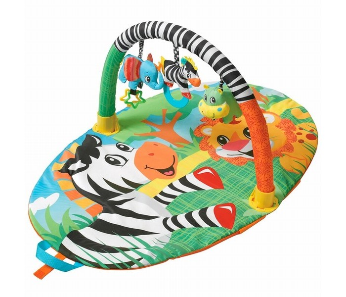 Развивающий коврик Infantino ЗебраЗебраРазвивающий компактный коврик Зебра, удобной овальной формы с одной дугой для размещения игрушек, легко складывается пополам и имеет удобную ручку для транспортировки.   Коврик выполнен из высококачественных тканей контрастных цветов для привлечения внимания малыша.  В комплекте 3 подвесные мягкие игрушки: слоненок погремушка, бегемот и зебра с прорезывателем, которые помогут малышу совершенствовать навыки координации движений, развить тактильные ощущения и зрительное восприятие.  Развивающий коврик Зебра удобно использовать как дома, так и в путешествии.   Размеры коврика: 95 х 60 см. Размеры коробки: 55 х 45 х 10 см  Вес с коробкой: 0,6 кг<br>