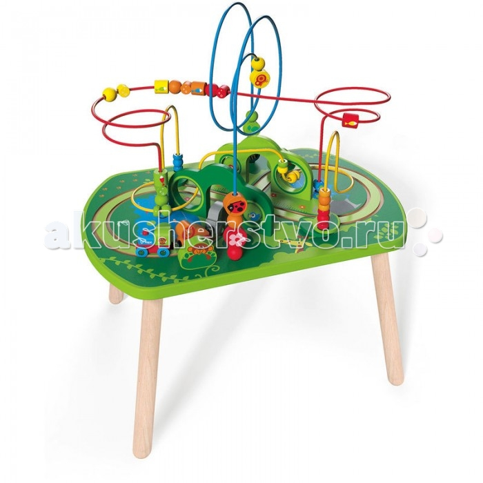 Деревянная игрушка Hape Лабиринт E3801Лабиринт E3801Hape Лабиринт E3801 - это столик-лабиринт для малышей.   Особенности: Он яркий, таит в себе множество развлекательных и развивающих элементов, так весело катать поезд по лабиринтам и перемещать разноцветные бусинки по изогнутой, витиеватой проволоке. Способствует развитию моторики и когнитивных навыков.  Большие размеры и широкий спектр игровых элементов позволит занять одновременно двух малышей.<br>