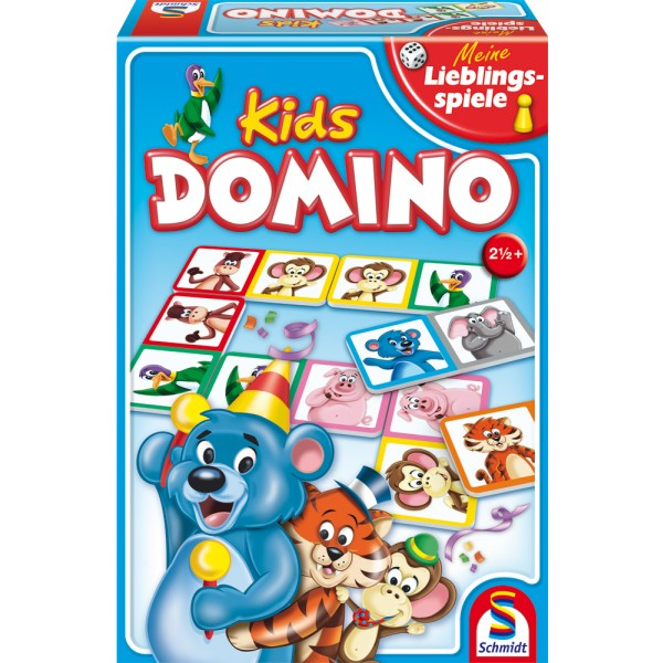 Schmidt Домино для детейДомино для детейПосмотрите на забавные изображения животных на карточках домино.   Цель игры - правильно разместить картинки на карточках друг за другом.   Победителем становится игрок, который первым сможет разложить все свои карточки.  Игра рассчитана на 2-6 игроков старше 3-х лет.<br>