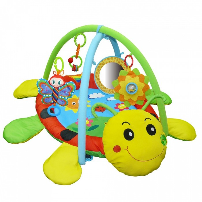 Развивающий коврик Biba Toys Божья коровкаБожья коровкаBiba Toys Развивающий коврик Божья коровка  Яркие цвета и красочные картинки  Игрушки, закрепленные на дугах 4 шт. С погремушками, прорезывателем, с шуршащими элементами, зеркалом Размер: 70 х 57 х 40 см<br>