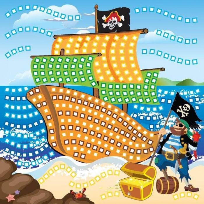 Funnivation Самоклеящаяся мозаика Пиратский корабль 400 элементовСамоклеящаяся мозаика Пиратский корабль 400 элементовFunnivation Самоклеящаяся мозаика Пиратский корабль 400 элементов  Рассказы о путешествиях и пиратских кораблях всегда привлекают детей своими захватывающими приключениями. На картинке для составления мозаики Пиратский корабль изображен пират, стоящий на суше рядом с сундуком, набитым сокровищами. Он только что сошел с корабля, на котором развивается пиратский флаг. И в руке у разбойника такой же флаг, а на плече сидит его верный спутник - попугай. Вся картинка раскрашена яркими красками, а детали-квадратики, из которых складывается мозаика, покрыты блеском.   Такие наборы для составления мозаики очень удобны тем, что при работе не нужны клей и ножницы. На картонную основу нужно наклеить самоклеящиеся детали, соответствующие цвету на основе. Детали, выполненные из пены ЭВА, не рвутся, не линяют, безопасны для здоровья.  Возраст: от 5 лет Количество деталей: 400 шт. Комплект: основа с рисунком и схемой размещения квадратиков, блестящие разноцветные квадратики из мягкого пластика на самоклеящейся основе - 6 листов. Размер картинки: 25 х 25 см.<br>
