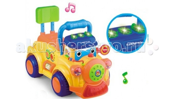 Каталка S+S Toys Грузовичок со светом и звукомГрузовичок со светом и звукомS+S Toys Игрушка для малышей BAMBINI Каталка-грузовичок со светом и звуком одним из основных навыков, требующих развития в самом раннем возрасте, является крупная и мелкая моторика. Своевременное развитие моторики стимулирует общее умственное и физическое  развитие ребенка.   Идеальным инструментом для этого станет каталка-грузовичок. Эта игрушка позволяет не только учиться ходить, опираясь на нее и толкая перед собой или сидя и отталкиваясь ногами, но и тренировать подвижность пальчиков рук во время игры с мелкими элементами, кнопочками и счетами. А также игра с каталкой стимулирует слуховое и зрительное восприятие благодаря световым и звуковым эффектам.  Передвижение на грузовичке станет для ребенка отличным упражнением для развития вестибулярного аппарата и координации движений. Под сиденьем присутствует полое отделение, в которое малыш сможет сложить свои любимые игрушки. Каталка работает от батареек и имеет кнопку включения, при нажатии на которую машинка издает громкий сигнал.<br>