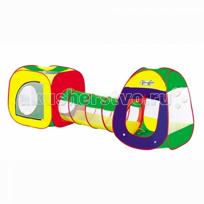 Yongjia Детская игровая палатка с тоннелемДетская игровая палатка с тоннелемДетская игровая палатка с тоннелем замечательно подходит как для игр в помещении, так и для летнего отдыха детей за городом, на даче или пикнике. Изготовлена из экологически чистого, водонепроницаемого, дышащего материала. Игровая палатка - отличное место для самостоятельной или групповой сюжетно-ролевой игры. Выполнена из текстильных материалов на металлическом каркасе. Легкая, прочная палатка, легко стирается и удивительно проста в сборке.  Основные характеристики:  Размер палатки: 74 х 241 х 89,5 см Вес: 4,9 кг<br>
