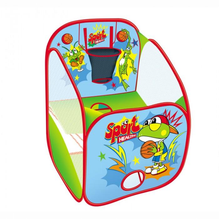 Yongjia Детская игровая палатка Спорт + 10 шаровДетская игровая палатка Спорт + 10 шаровДетская игровая палатка Спорт замечательно подходит как для игр в помещении, так и для летнего отдыха детей за городом, на даче или пикнике. Изготовлена из экологически чистого, водонепроницаемого, дышащего материала. Игровая палатка - отличное место для самостоятельной или групповой спортивной игры. Выполнена из текстильных материалов на металлическом каркасе. Легкая, прочная палатка, легко стирается и удивительно проста в сборке.  Основные характеристики:  Размер палатки: 73 х 73 х 83 см Вес: 0,69 кг<br>