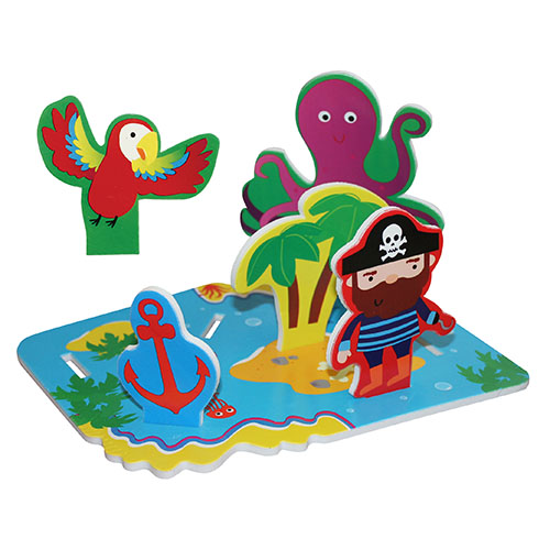 Lubby Набор игрушек Остров сокровищНабор игрушек Остров сокровищLubby Набор игрушек Остров сокровищ поможет развить фантазию ребенка. В комплекте остров, который не тонет и держится на поверхности воды. В него можно вставить пирата, пушку, сокровища и множество других элементов, тем самым, создав приключенческую историю.   Игрушка многоразовая. Вода не является клеем! Специальная упаковка набора игрушек в сеточку с присосками поможет аккуратно хранить изделие в ванной комнате. Это товар 2 в 1. Игрушка и сеточка для хранения!   В наборе: остров, который не тонет пират  15 элементов  Размер игрушки: 24х5х30 см<br>