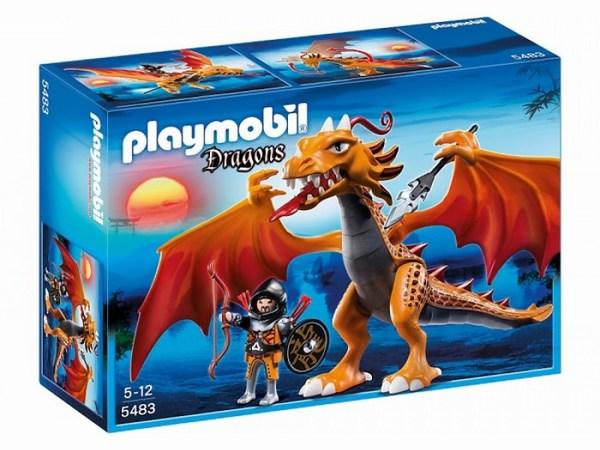 Конструктор Playmobil Азиатский дракон: Огненный драконАзиатский дракон: Огненный драконБольшой огненный дракон с фигуркой воина в доспехах.   У дракона подвижны голова, крылья, ноги и руки, в руках он может держать оружие.   Ты можешь посадить воина на дракона и он будет крепко держаться, упираясь ногами в крылья.<br>
