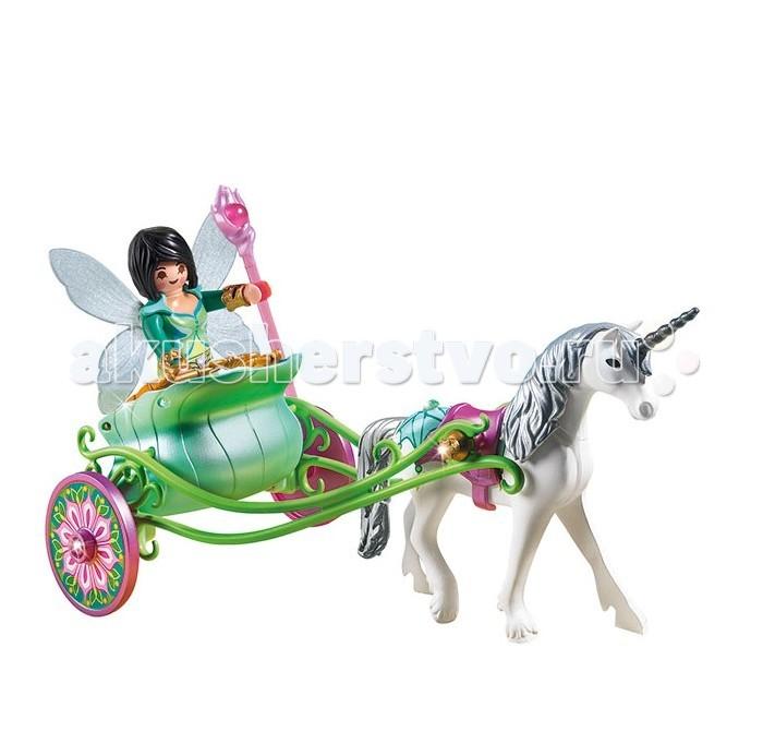 Конструктор Playmobil Карета с Единорогом и фея бабочкаКарета с Единорогом и фея бабочкаВ открытой, изысканно украшеной повозке, запряженной белоснежным единорогом, фея-бабаочка едет на большой бал.   У феи очень красивое платье, но она не может из-за него сидеть.   Передние ноги у единорога подвижные.<br>