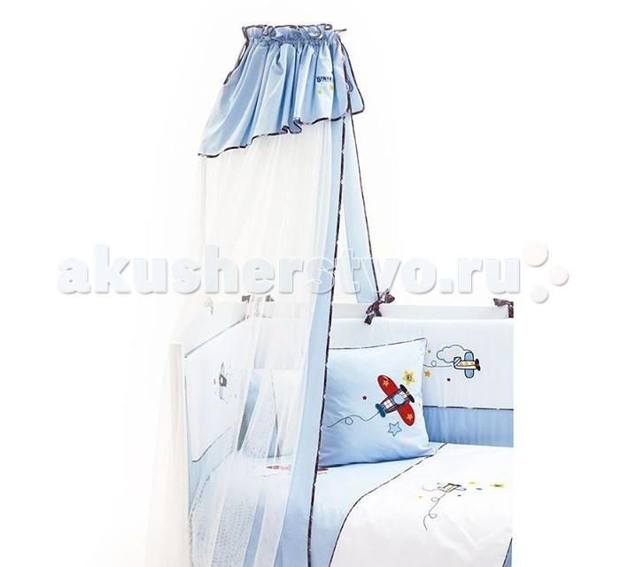 Балдахин для кроватки Fiorellino PilotPilotКрасочный самолётик на фоне нежно-голубого неба – коллекция Fiorellino Pilot идеально подойдёт для новорождённого мальчика, которому в будущем предстоит стать отважным искателем приключений.   В этом текстиле яркие цветовые акценты удачно гармонируют со спокойной гаммой небесных оттенков, делая дизайн коллекции подчёркнуто детским и праздничным.  Особенности: балдахин идеально подойдёт для коллекции текстиля Fiorellino Pilot длина балдахина – 5 метров легко стирается и быстро сохнет<br>