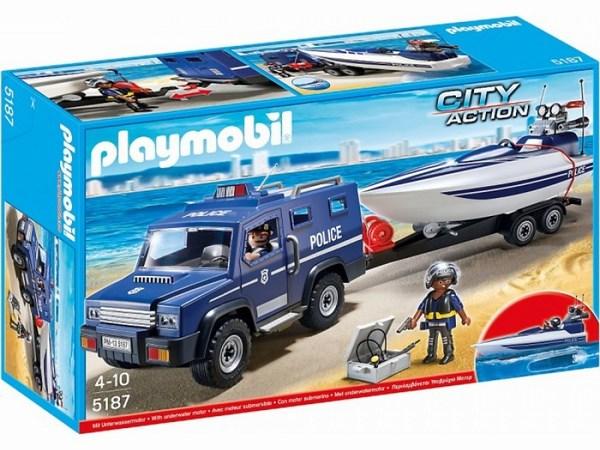 Игровые наборы Playmobil Игровой набор Полицейский грузовик с катером