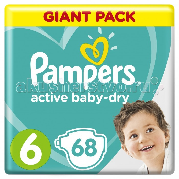 Pampers Подгузники Active Baby Dry Extra Large р.6 (15+ кг) 64-66 шт.