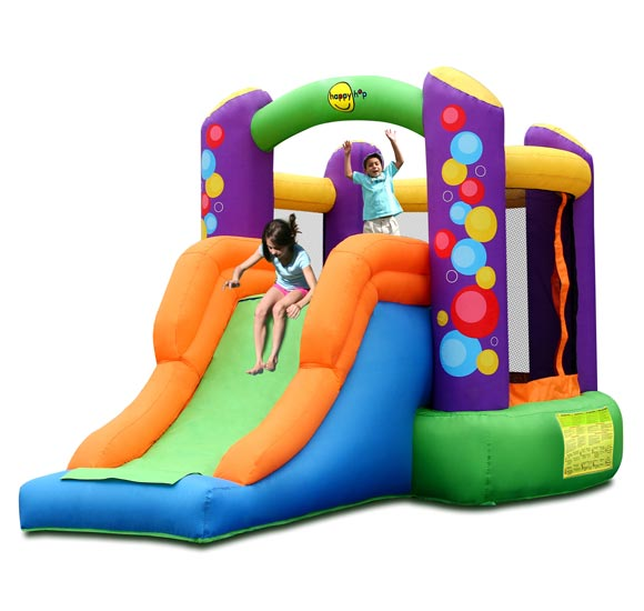 Happy Hop Надувной батут с горкой Воздушные шары 9236Надувной батут с горкой Воздушные шары 9236Надувной батут с горкой Happy Hop Воздушные шары 9236 - игровая модель для детей любого возраста. Установить можно как на детской площадке общего пользования, так и на дачном участке.   Технические характеристики:  Габариты модели: 350 x 210 x 200 см Высота основания: 40 см  Размеры батута: 210 x 190 см  Размеры прыжковой поверхности: 175 x 150 см  Высота защитной сетки-ограждения: 100 см  Размер горки: 160 x 85 см Высота площадки горки: 90 см  Ширина скользящей поверхности: 55 см  Допустимая нагрузка: 90 кг  Допустимое количество детей: 2.  Изделие выдерживает широкий диапазон температур: от –10 до +40 °C   Материал надувного батута  Прыжковая поверхность: ПВХ ламинированный (laminated PVC) Поверхность батута: ламинированная ткань Оксфорд  Застежки: лавсан  Крепеж к земле: пластмасса.  Насос батута высокого качества, безопасен при использовании и безвреден для окружающей среды.  Насос можно использовать при температуре от -15 до + 40 °C.  Оснащен устройством защиты.   При возникновении в насосе короткого замыкания или при прочих возникших проблемах при его эксплуатации, он немедленно выключается, тем самым обеспечивает безопасность пользователю надувного батута. Насос отвечает экологическим стандартам ЕС, а также имеет сертификат безопасности GS.  Комплектация: Батут Воздухонагнетатель (компрессор) Сумка для хранения батута Пластиковые колышки для фиксации батута  Пластиковые колышки для фиксации воздухонагнетателя  Ремкомплект (по два кусочка ткани каждого цвета) Инструкция на русском языке.<br>