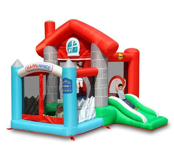 Надувные батуты Happy Hop Надувной батут с горкой Счастливый дом 9315