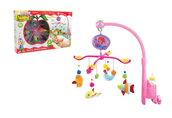 Мобиль Henglei  Рыбки с батарейкамиРыбки с батарейкамиМузыкальный мобиль Рыбки с батарейками.  Помогает ребенку в развитии фиксирования зрения на движущихся предметах, улучшает засыпание. Цветные игрушки привлекут его внимание, а звук мелодии позволит ребёнку успокоиться.   Характеристики: мягкие игрушки - рыбки музыкальный блок с регулировкой звука держатель для бутылки на батарейках выполнены из безопасных материалов высокого качества<br>