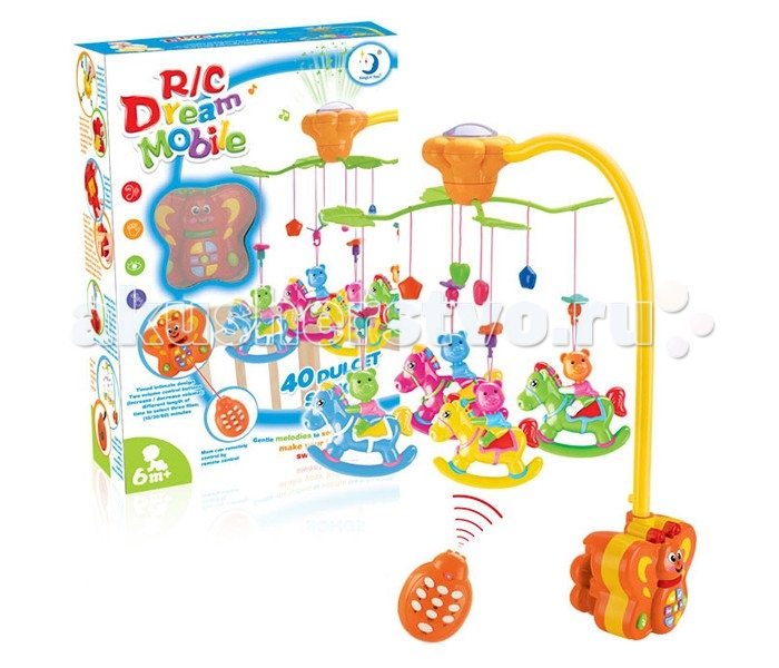 Мобиль Henglei  Лошадки со светом и д/уЛошадки со светом и д/уМузыкальный мобиль Лошадки со светом и д/у обязательно понравится детишкам.  Помогает им в развитии фиксирования зрения на движущихся предметах, улучшает засыпание. Цветные игрушки привлекут внимание, а звук мелодии позволит ребёнку успокоиться.   Характеристики: пластиковые игрушки - лошадки-погремушки музыкальный блок с регулировкой звука музыкальный блок со светом на батарейках с пультом дистанционного управления выполнены из безопасных материалов высокого качества<br>
