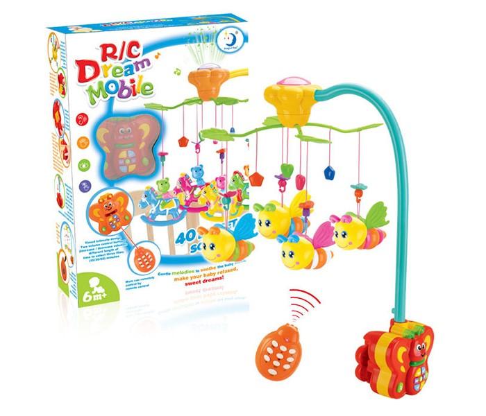 Мобиль Henglei  Пчелки со светом и д/уПчелки со светом и д/уМузыкальный мобиль Пчелки со светом и д/у обязательно понравится детишкам.  Помогает им в развитии фиксирования зрения на движущихся предметах, улучшает засыпание. Цветные игрушки привлекут внимание, а звук мелодии позволит ребёнку успокоиться.   Характеристики: пластиковые игрушки - пчелки музыкальный блок с регулировкой звука музыкальный блок со светом на батарейках с пультом дистанционного управления выполнены из безопасных материалов высокого качества<br>