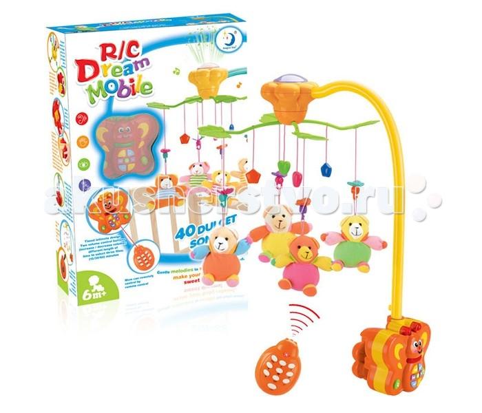 Мобиль Henglei  Мишки со светом и д/уМишки со светом и д/уМузыкальный мобиль Мишки со светом и д/у обязательно понравится детишкам.  Помогает им в развитии фиксирования зрения на движущихся предметах, улучшает засыпание. Цветные игрушки привлекут внимание, а звук мелодии позволит ребёнку успокоиться.   Характеристики: мягкие игрушки - мишки музыкальный блок с регулировкой звука музыкальный блок со светом на батарейках с пультом дистанционного управления выполнены из безопасных материалов высокого качества<br>