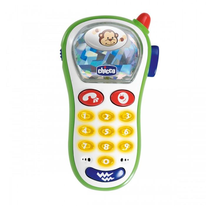 Chicco Игрушка Мобильный телефонИгрушка Мобильный телефонПервый телефон-смартфон имеет 10 различных мелодий, световые эффекты и вибрацию.   При нажатии на кнопочку в специальном окошке меняются фотографии различных животных.<br>